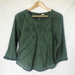 GAP Embroidered Olive Blouse